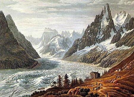 La Mer de Glace au Petit âge glaciaire, lithos et photos : Robert Vivian (source site Glaciers du Mont-Blanc. Mémoire du climat)