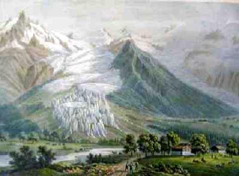 Le glacier des Bossons pendant le petit âge glaciaire en 1820