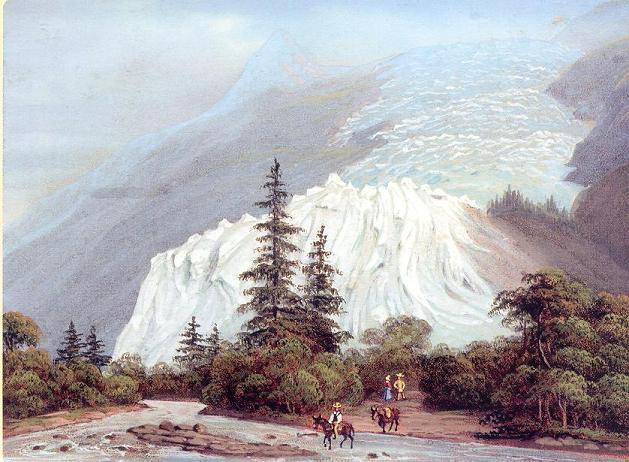 Vers le milieu du XIXe siècle, le glacier des Bossons est à son avancée maximale. Au début des années 2000, la limite de ce même glacier se trouve plus de 1 200 mètres en arrière.  (artiste inconnu ; source Wikipedia)