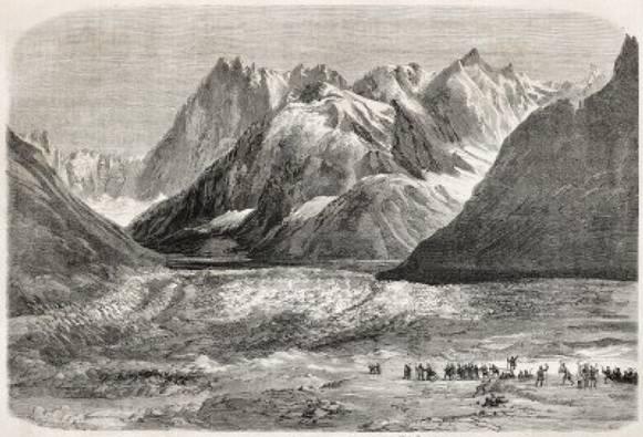 """""""Napoléon III et l'impératrice Eugénie, excursion sur la Mer de Glace"""". Créé par Marc, publié sur L'Illustration, Journal Universel, Paris, 1860"""