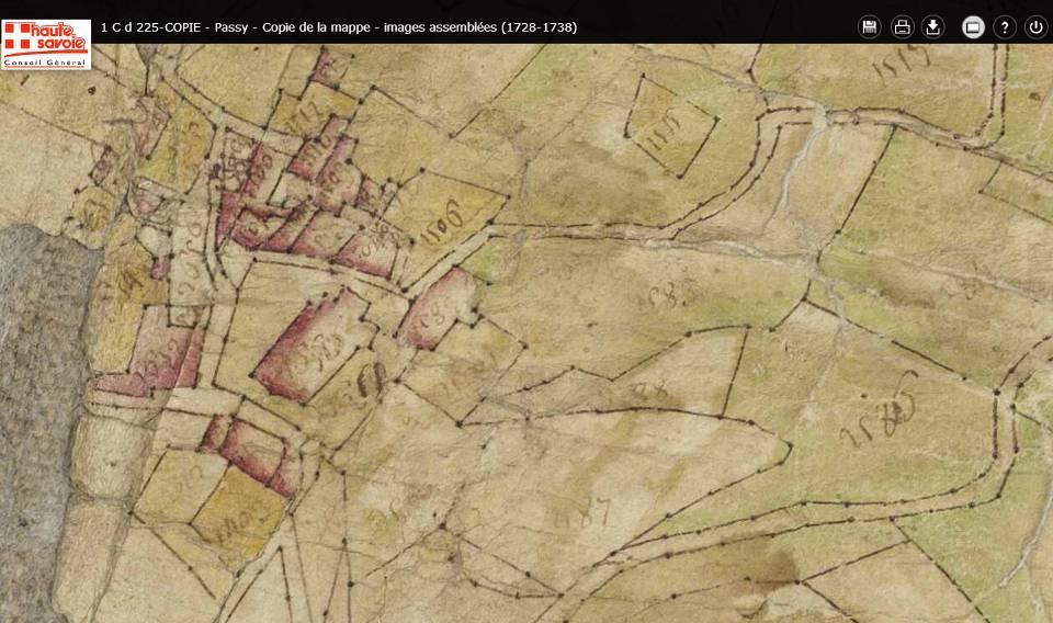 Détail de la mappe de Passy : le Chef-lieu en 1733 (Source Conseil général et Archives départementales de Haute-savoie)