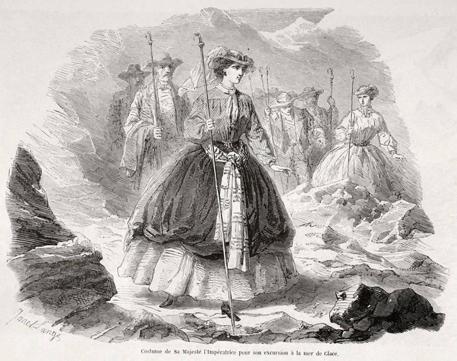 Costume de l'Impératrice à la Mer de Glace (Gravure parue dans l'Illustration, source gallica.bnf)
