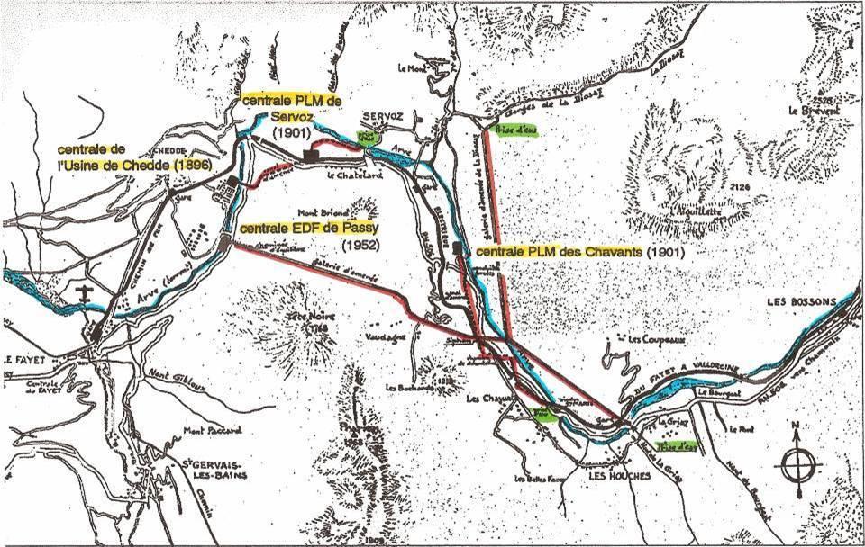 Schéma des conduites forcées et des centrales hydroélectriques à Passy (Coll. Bernard Roze ; J.P. Gide, op. cit., p. 75)