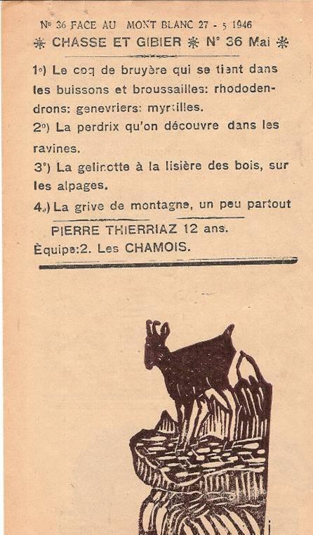 Journal scolaire de Passy « Face au Mont-Blanc », mai-juin-juillet 1946 p. 6 Chasse et gibier, par Pierre Thierriaz, 12 ans