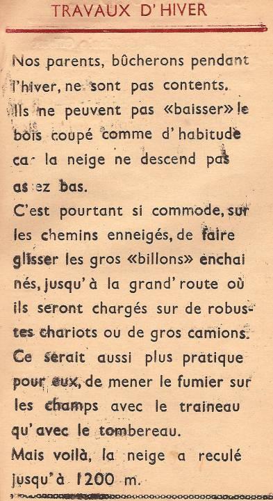 Journal scolaire de Passy « Face au Mont-Blanc », janvier 1948, p. 5 « Travaux d'hiver »