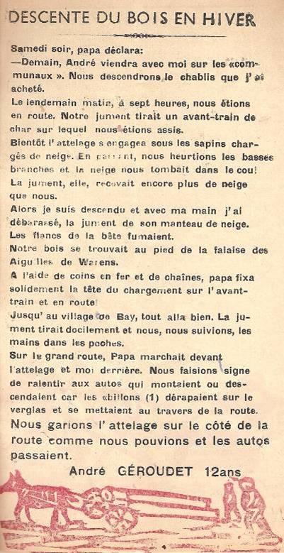 Journal scolaire de Passy « Face au Mont-Blanc », janvier 1951, p. 5 « Descente de bois en hiver »
