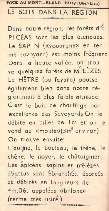 Journal scolaire de Passy « Face au Mont-Blanc », janvier-février 1951, p. 6 « Le bois dans notre région »
