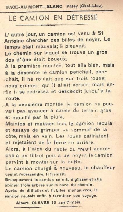 Journal scolaire de Passy « Face au Mont-Blanc », mars 1951, p. 13, « Camion en détresse »
