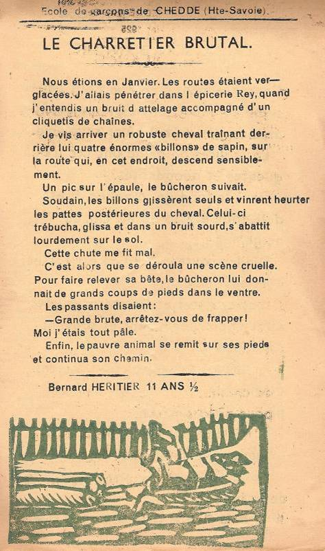 Journal scolaire de Passy « Face au Mont-Blanc », janvier 1952 p. 5 « Le charretier brutal »
