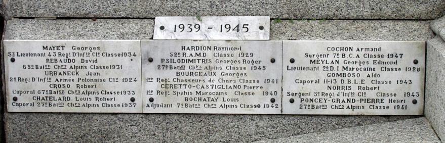 Monument aux morts de Passy : 1939-45 (cliché Bernard Théry)