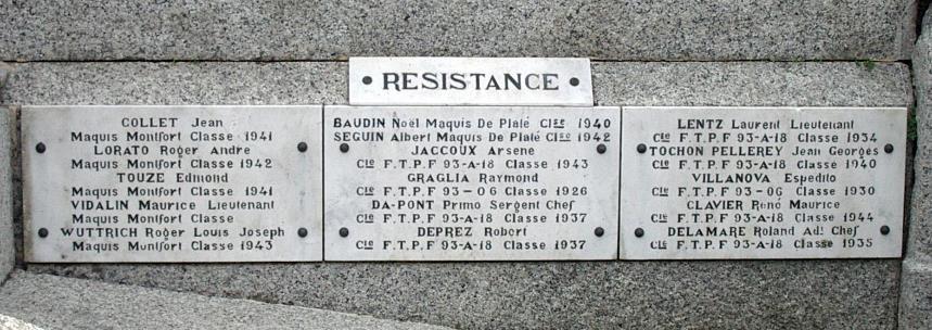 Monument aux morts de Passy : Résistance (cliché Bernard Théry)
