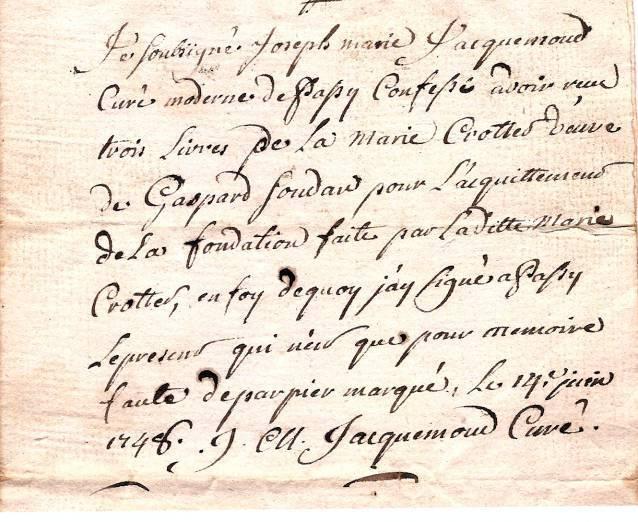 14 juin 1748, Quittance du curé de Passy pour Marie Crottet veuve de Gaspard Soudan (Coll. Jean Perroud)