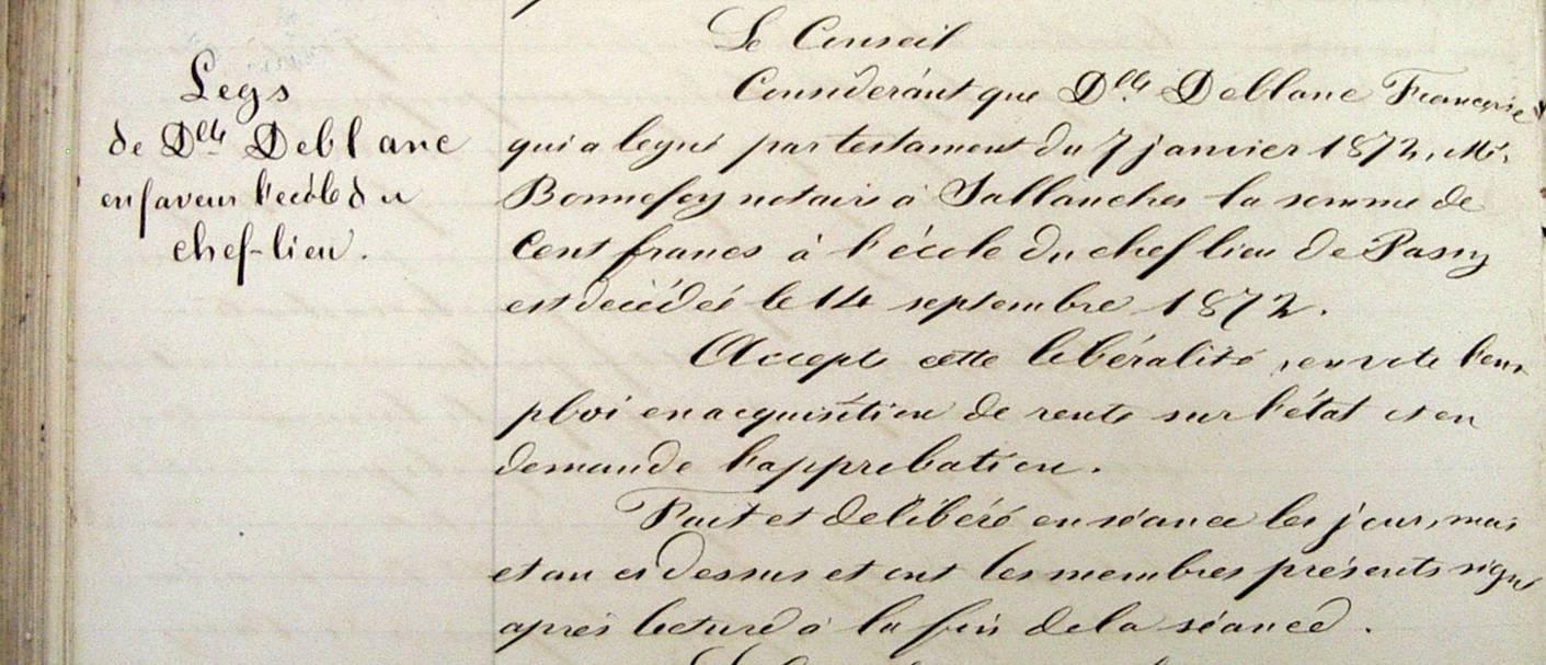 Délibération du Conseil municipal de Passy, 10 octobre 1875, concernant le legs de Dlle Deblanc Françoise