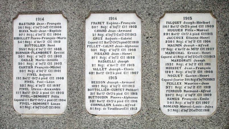 Monument aux morts de Passy : Passerands morts en 1914 et 1915 (cliché Bernard Théry)