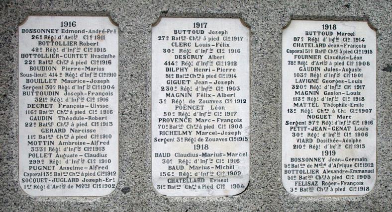 Monument aux morts de Passy : Passerands morts en 1916, 1917 et 1918 (cliché Bernard Théry)