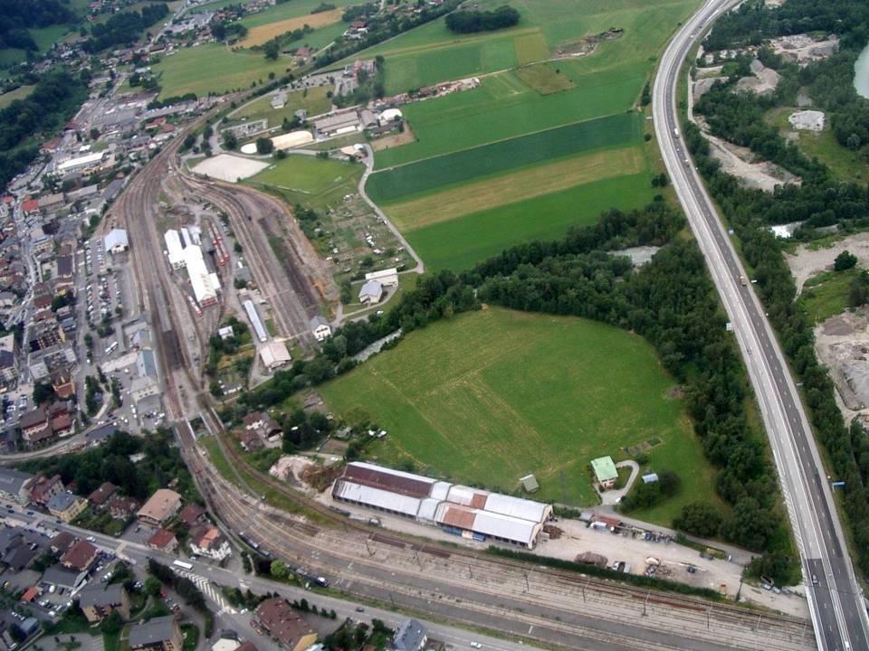 La gare de St-Gervais-Le Fayet, vue aérienne, 27 juin 2013 (cliché Bernard Théry, pilote Roland Sarkis)