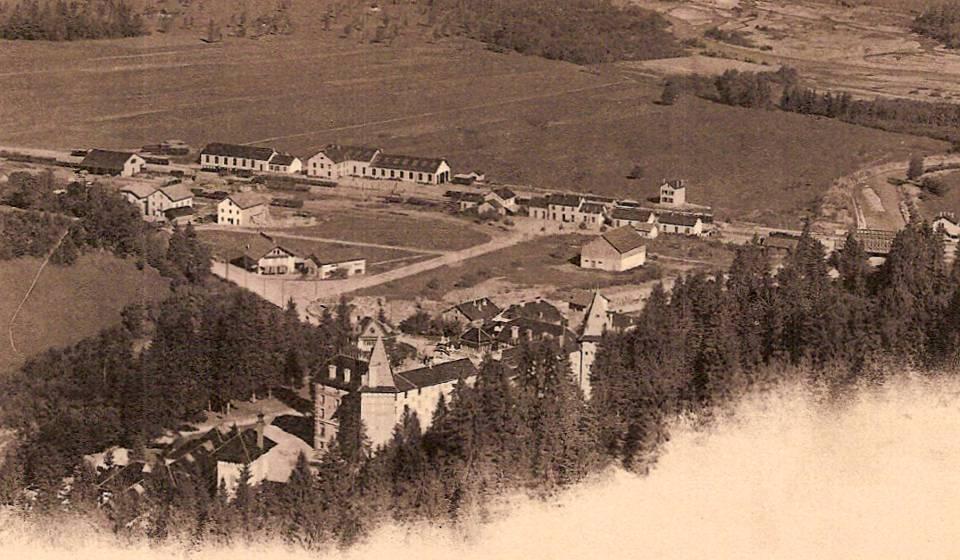 La gare du Fayet vue depuis St-Gervais au début du XXe siècle (coll. Michel Sirop)
