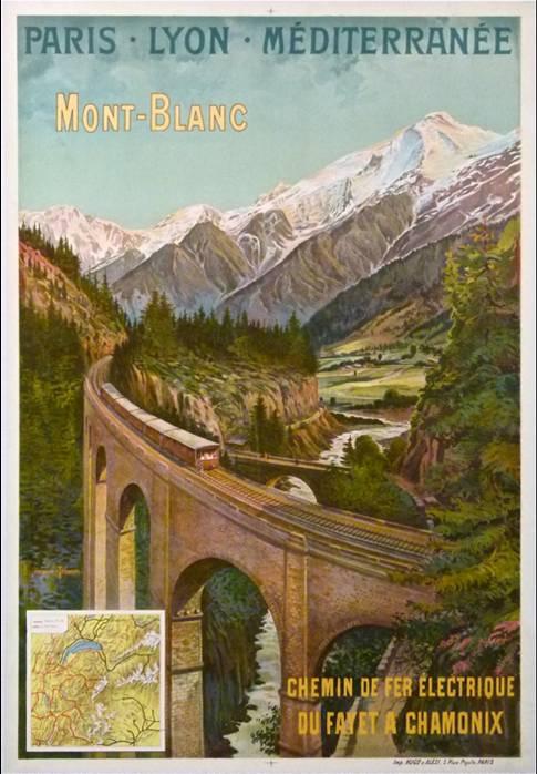 Affiche P.L.M. montrant le viaduc Ste-Marie, aux Chavants
