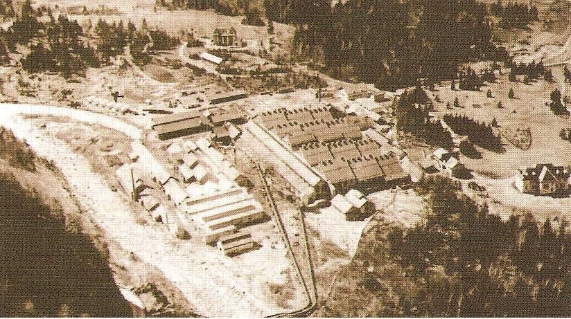 Centrale de l'usine de Chedde : les bâtiments tout en longueur de la production électrique voisinent avec les toits aux multiples cheminées des chlorates ; on voit les conduites forcées qui alimentent la centrale (Vatusium n° 9, p. 33, doc. Serge Ravasi)