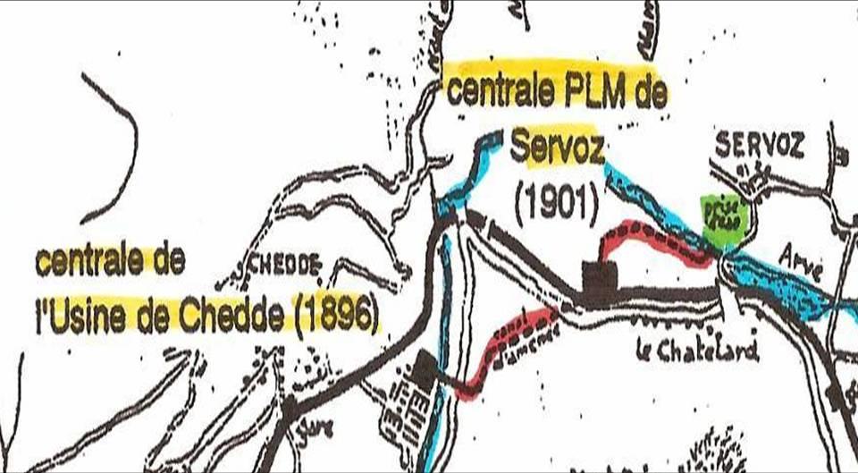 Schéma de l'équipement hydroélectrique entre Servoz et Chedde : en rouge, les deux tronçons de la conduite forcée (Coll. Bernard Roze, J.P. Gide, op. cit. p. 75)