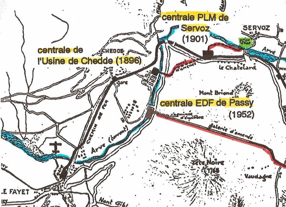 Plan des installations ; en rouge, les conduites forcées (Gide, op. cit. p. 75.)
