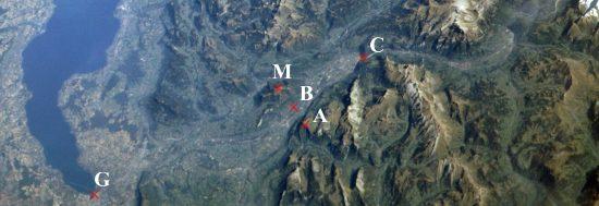 Légende : G = Genève, B = Bonneville, M = Môle, A = Andey, C = Cluse ; Passy se situe à droite de la photo (Doc. du site Moreau.net)