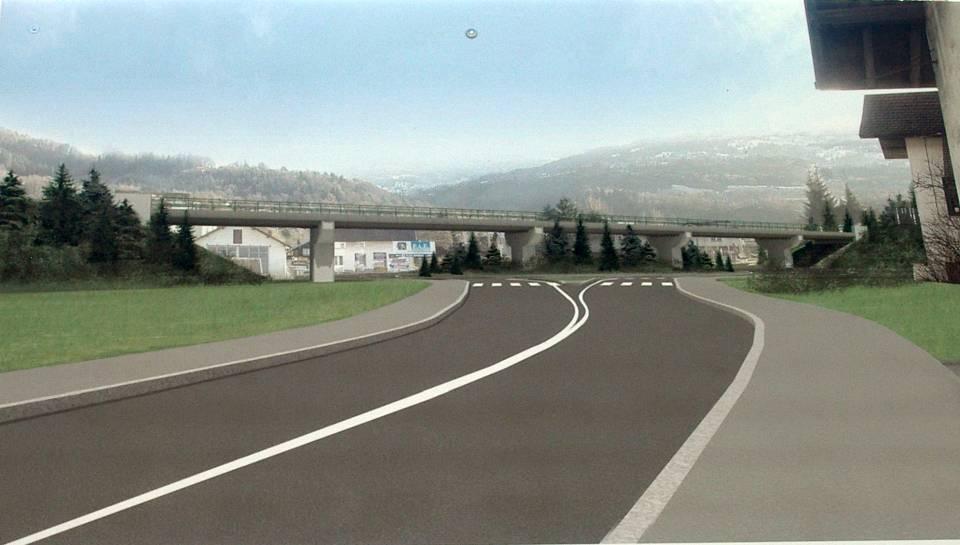 Maquette du futur pont ferroviaire (affichage du chantier)