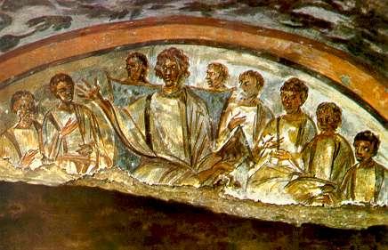 Représentation des douze apôtres, fresque du IVe siècle (source Internet)