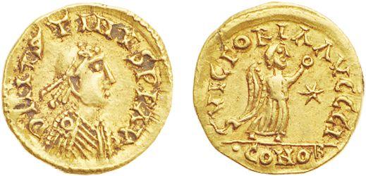 Tiers de sou d'or du royaume des Burgondes au nom de l'empereur Justin Ier et au monogramme du roi Sigismond.