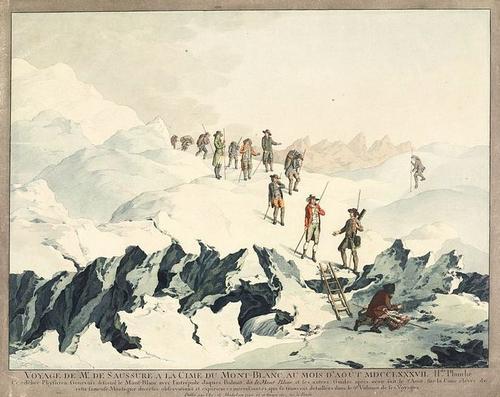 « Voyage de M. de Saussure à la cime du Mont-Blanc au mois d'août 1797 » (gravure)