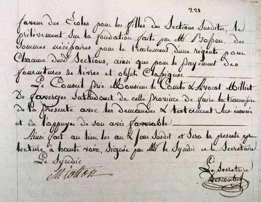 Archives municipales de Passy, délibération du décembre 1849