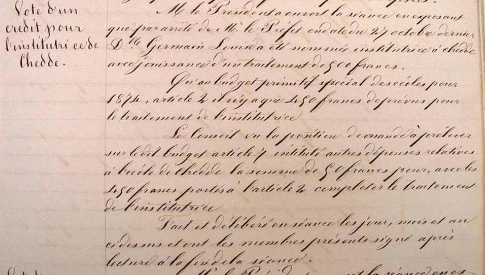 Archives municipales de Passy, fac-similé de la délibération du 10 février 1874 ; on notera la qualité de l'écriture