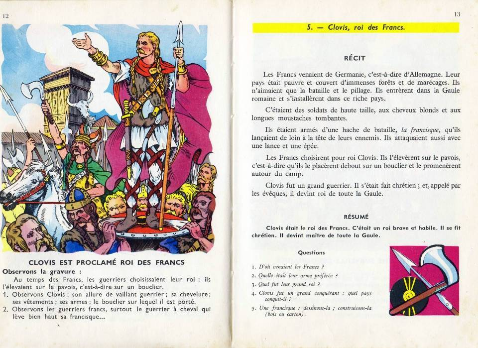 La leçon sur Clovis dans le manuel Bernard et Redon (Source Internet)