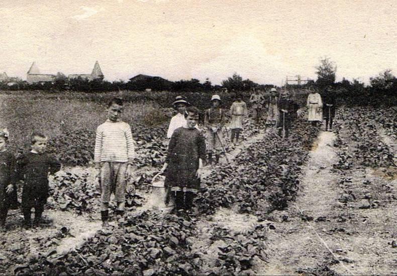 Jardin scolaire de Falvy dans la Somme (photo tirée du site CPArama.com, Forum et galerie de cartes postales anciennes de France)