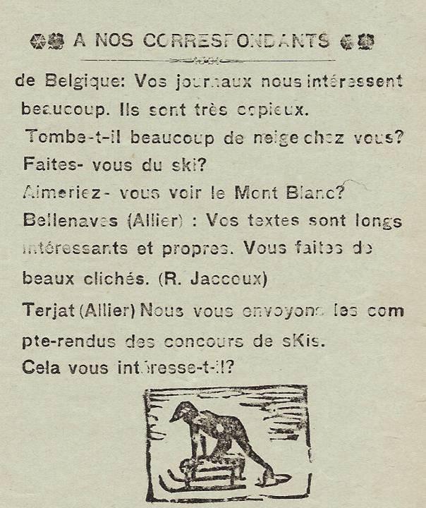 Journal scolaire de Passy « Face au Mont-Blanc », janvier 1938, p. 9 « A nos correspondants »