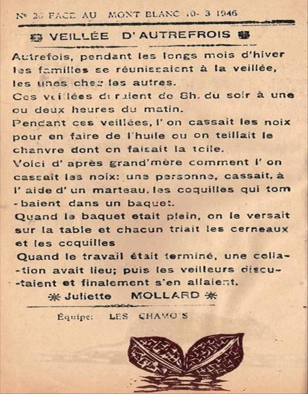 « Veillée autrefois », Face au Mont-Blanc, mars 1946