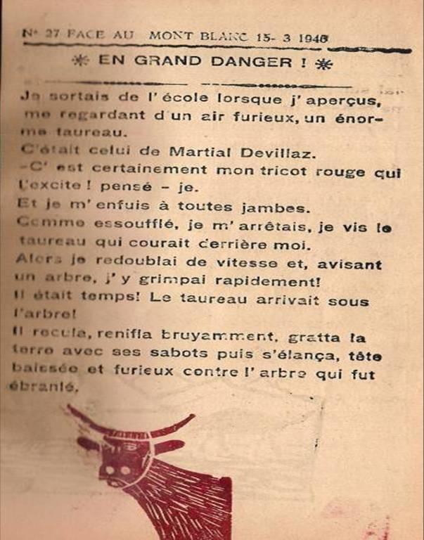 « En grand danger », par Jean-Louis Guyot, Face au Mont-Blanc, mars 1946, p. 1