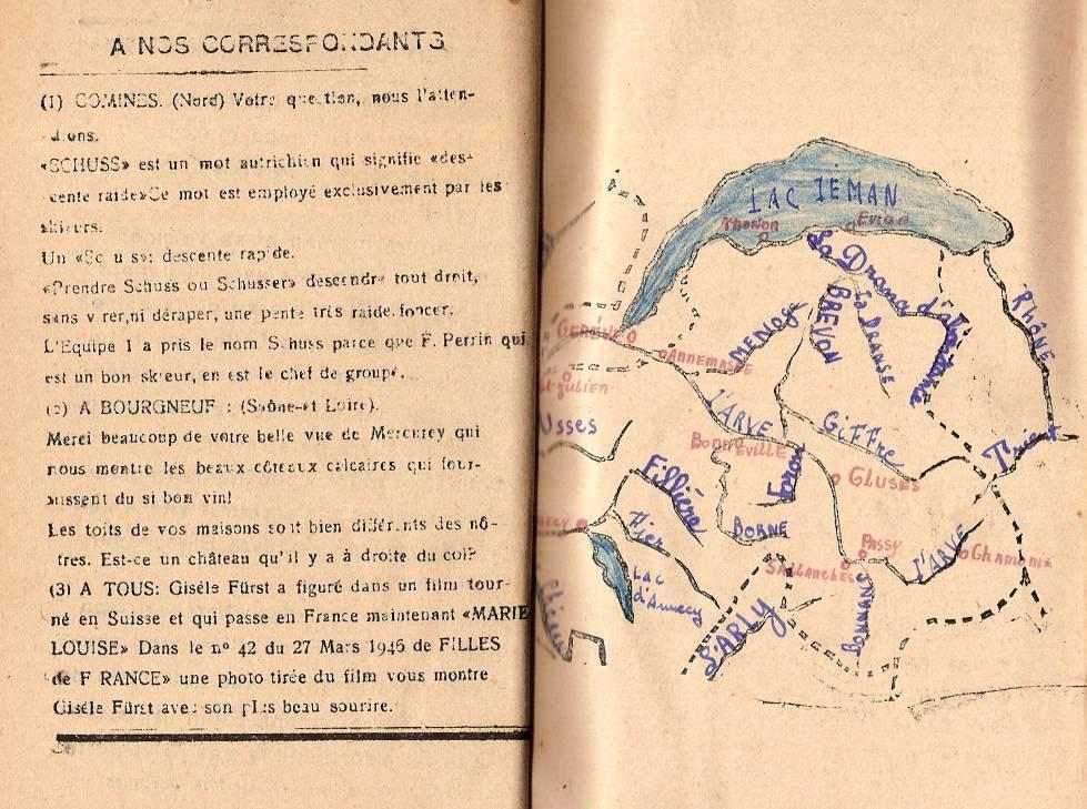 Journal scolaire de Passy « Face au Mont-Blanc », avril 1946, page « A nos correspondants »