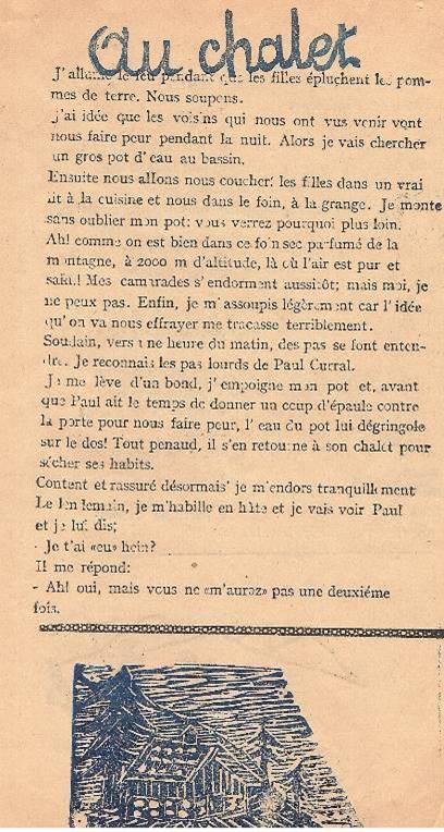 « L'Escalade », journal scolaire de Passy « Face au Mont-Blanc », juillet 1946, p. 3
