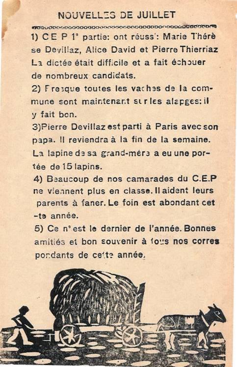 Journal scolaire de Passy « Face au Mont-Blanc », juillet 1946, « Nouvelles de juillet »