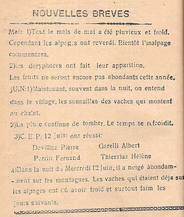 Journal scolaire de Passy « Face au Mont-Blanc », mai-juin 1946, « Nouvelles brèves »