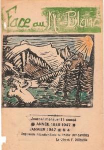 """Couverture du n° de janvier 1947, journal scolaire de Passy """"Face au Mont-Blanc"""""""