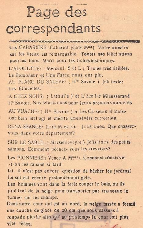 Journal scolaire de Passy « Face au Mont-Blanc », janvier 1947, Passy, « Page des correspondants »