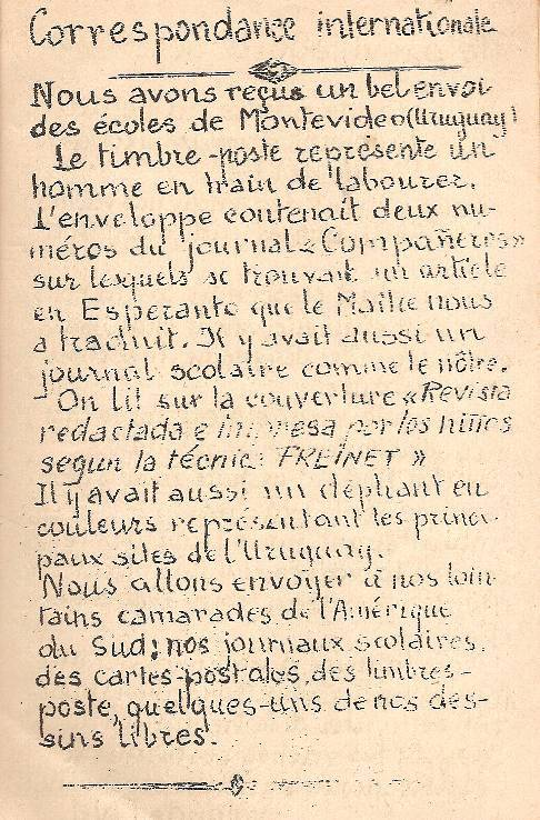 """Correspondance internationale, Journal scolaire de Passy, novembre 1949, p. 1"