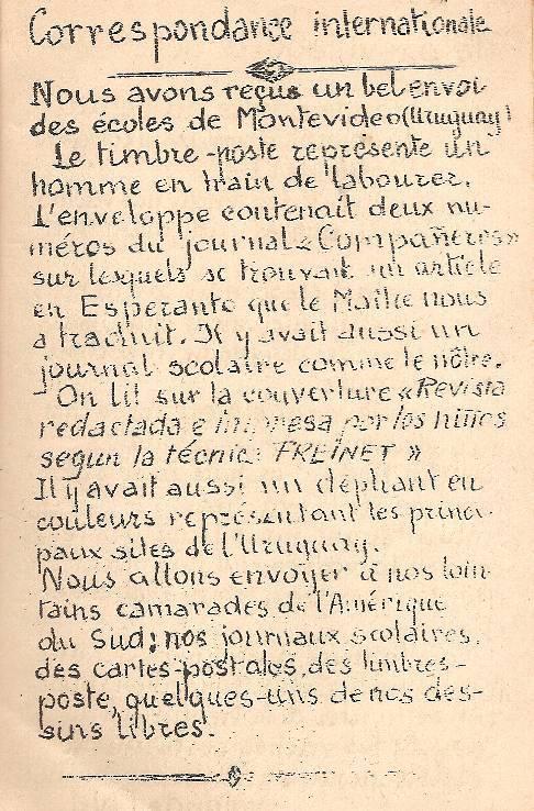 """""""Correspondance internationale, Journal scolaire de Passy, novembre 1949, p. 1"""