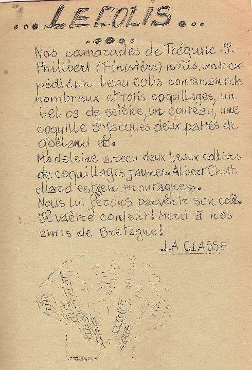 """""""Le colis"""", Journal scolaire de Passy, juillet 1950, p. 7"""