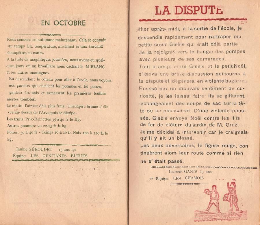 """Journal scolaire """"Face au Mont-Blanc"""", Passy, octobre 1947, p10 et 11"""