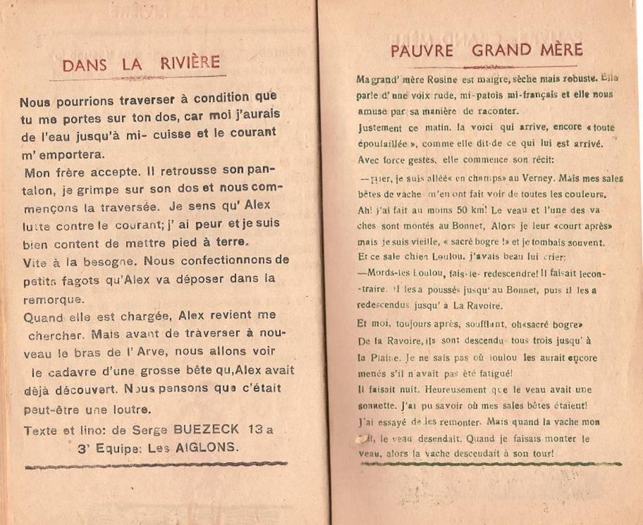 """Journal scolaire """"Face au Mont-Blanc"""", Passy, octobre 1947, p. 14 et 15"""