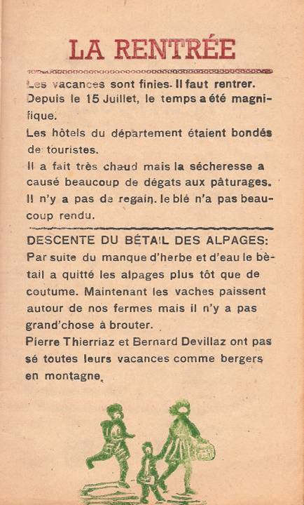 "Journal scolaire ""Face au Mont-Blanc"", Passy, octobre 1947, p. 1"