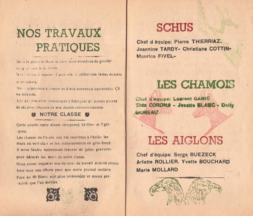 """Journal scolaire """"Face au Mont-Blanc"""", Passy, octobre 1947, p. 2 et 3"""
